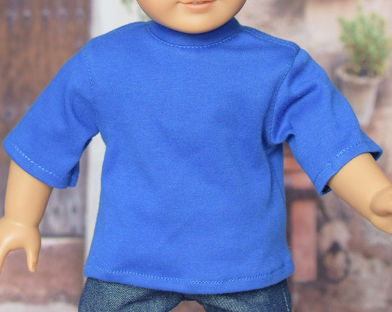 """Cotton Short-Sleeve Crewneck T-shirt for Boy or Girl 18"""" Dolls, American Girl Doll Clothing, Quality Hand-made Doll T-shirt, Girl Gift"""