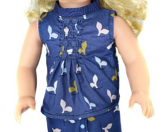 Certified Organic Cotton Sleeveless Blouse with Smocking, Quality Hand-made Doll Shirts (Tops), American Girl Doll Clothing, Girl Gift, A121
