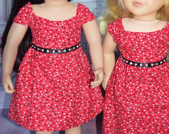 "Cotton Party Doll Dresses, Red Dress for 18"" dolls, Quality Hand-made Dress, Long and Short Dresses, American Girl Doll Clothing, Girl Gift"