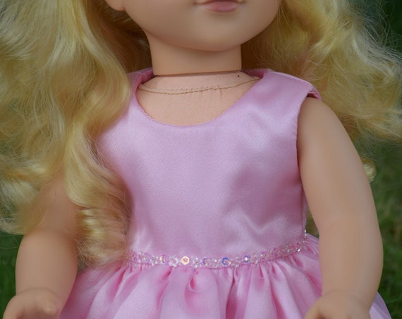 "Pink Chiffon Party Dress for 18"" Dolls. A100"