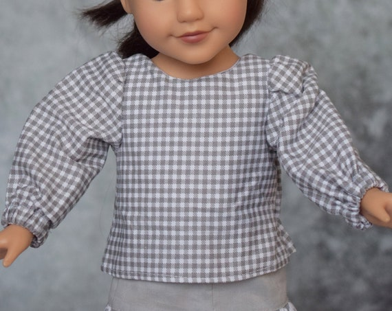 """Grey & White Outfit for 18"""" Dolls, Gingham Blouse, Coordinating Skirt, American Girl Doll Clothing, Girl Gift, Quality Hand-made Doll Outfit"""