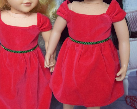 Red Cotton Velveteen Doll Dress, Party Dress, Quality Hand-made Doll Dress, Dress with Sequin Detail, American Girl Doll Clothing, Girl Gift
