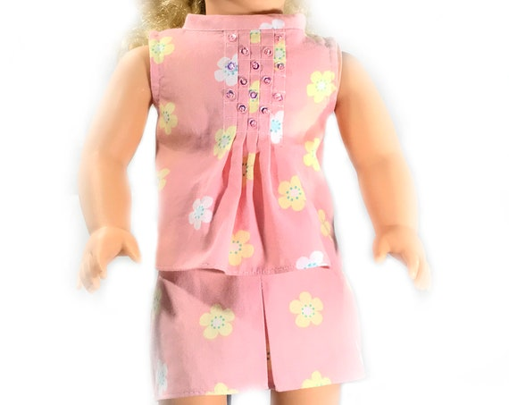 "Two-piece Outfit (Blouse and Skirt) for 18"" Dolls: Coral Print. A119"