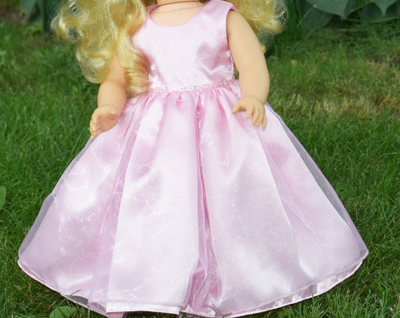 "Pink Chiffon Sleeveless Party Dress with Sequin Details for 18"" Dolls, Quality Hand-made Dress, American Girl Doll Clothing, Girl Gift  A100"