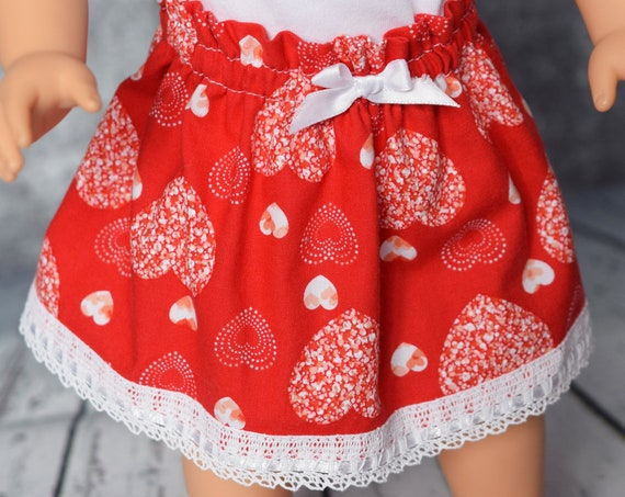 "Valentine Doll Skirt, Cotton Full Skirts for 18"" Dolls, Quality Hand-made ""Paper Bag"" Doll  Skirts, American Girl Doll Clothing, Girl Gift"