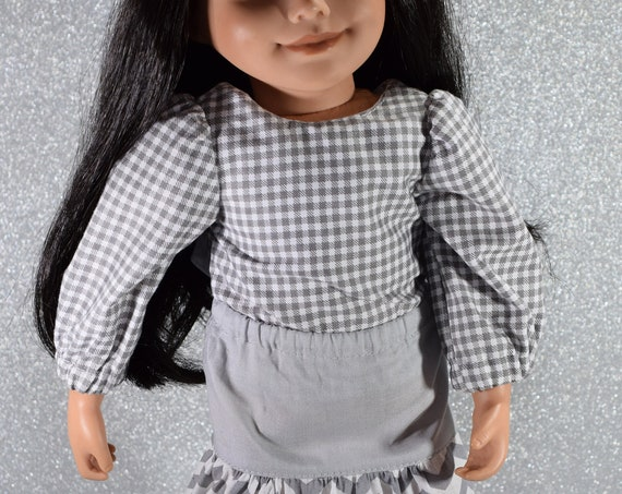 "Hand-made Grey and White Gingham Blouse with Long Sleeves and White Bow for 18"" Dolls"