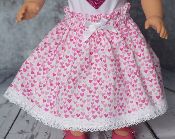 """Valentine Doll Skirt, Cotton """"Paper Bag"""" Skirts, 18"""" Dolls, American Girl Doll Clothing, Quality Hand-made Doll Skirts, Girl Gift"""