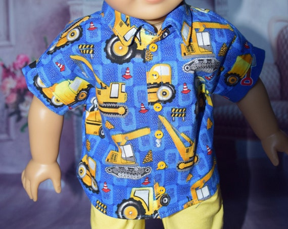 Cotton Short-Sleeve Doll Shirt, Quality Hand-made Shirt, Shirt with Snaps, Shirt with Dolman Sleeves, American Girl Doll Clothing, Girl Gift