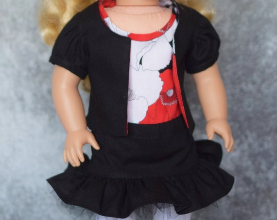 "Black Jacket and Short Skirt with Floral short-sleeved Top for 18"" Dolls such as American Girl, Girl Gift, Doll Clothing"