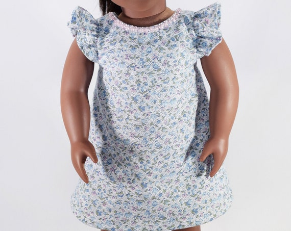 """A-line Easter Dress, Doll Dress with Flutter Sleeves, a Back Bow & Sequins, Sized to fit Popular 18"""" Dolls, Quality Hand-made Dress"""