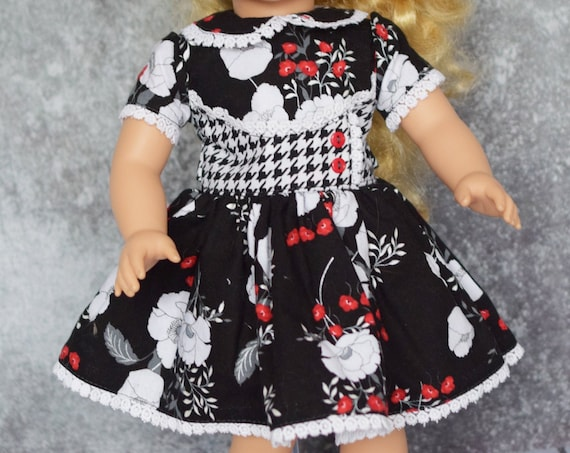 Quality Hand-made 1950s-Style Dress in Black Floral and Houndstooth Prints for 18-inch Dolls such as American Girl, Girl Gift, Doll Clothing