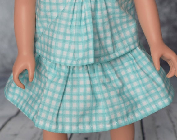 """Cotton Doll Skirt, Certified Organic Cotton Full Skirt, Sized to fit Most 18"""" Dolls, Quality Hand-made Skirt, Doll Clothing, Girl Gift, A122"""