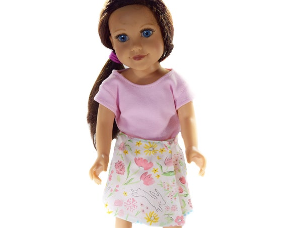 "Hand-Made Reversible Wrap-Around Skirt for 18"" Dolls. A125"