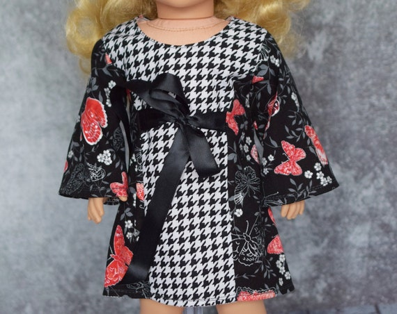 Long-Sleeved A-line Doll Dress in 3 Variations: Black Floral and Houndstooth, Floral and White for 18-inch Dolls, Doll Clothing, Girl Gift
