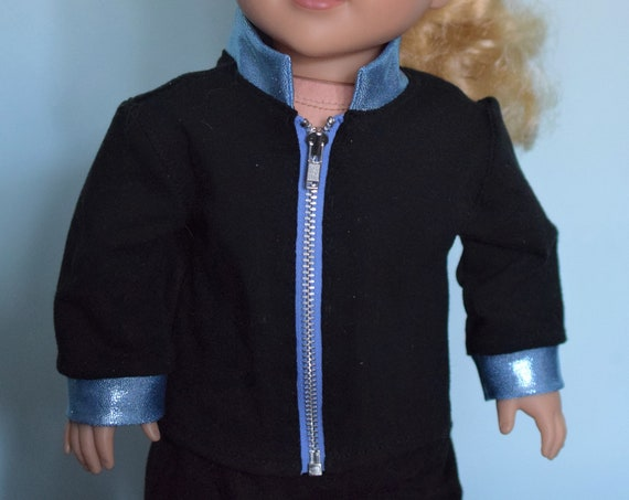 "Cotton Knit Cheer Jacket and Jogging Pants for 18"" Dolls in Black Widow, Flyers and Sharks Colors, American Girl Doll Clothing, Girl Gift"