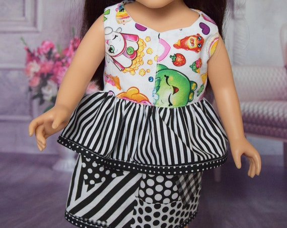 "American Girl Doll Clothes - Doll Diress - Girl Gift - Cotton Sleeveless Peplum Dresses for 18"" Dolls"