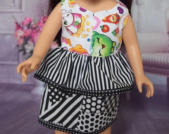 "Cotton Doll Dress, Fun Play Dress, Peplum Sleeveless Dress, Sized to Fit Most 18"" Dolls, Quality Hand-made Black & White Dress, Girl Gift"