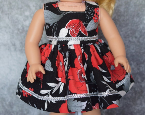 Doll Party Dress, Beautiful Sleeveless Square-necked Floral Dress, Silver Soustache Trim, Fits Most Popular 18-inch Dolls, Girl Gift