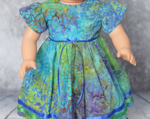 "Cotton Batik Party Dress for 18"" Dolls, Long Party Dress, Quality Hand-made Cotton Doll Dress, American Girl Doll Clothing, Girl Gift"