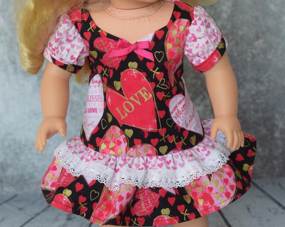 "Valentine's Day A-line Party Dress with Sweetheart Neckline, Puff Sleeves & Ruffled Hem for 18"" Dolls, American Girl Doll Clothing, Gift"