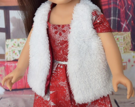 "Hand-made White Furry Vest for 18"" Dolls such as American Girl"