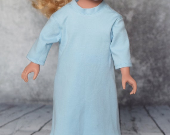 """Organic Cotton Knit Long Nightgowns for 18"""" Dolls, Quality Hand-made Doll Nightgowns, American Girl Doll Clothing, Girl Gift A106"""