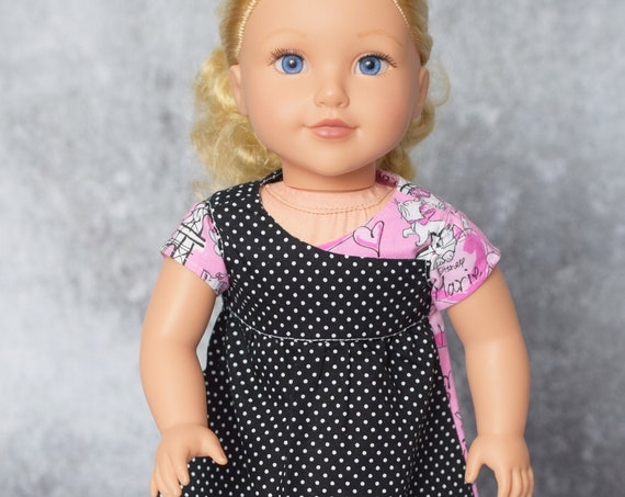 "American Girl Doll Clothes - Doll Diress - Girl Gift - Cotton Play Dress  (two with Matching Braided Headbands) for 18"" Dolls. A128"