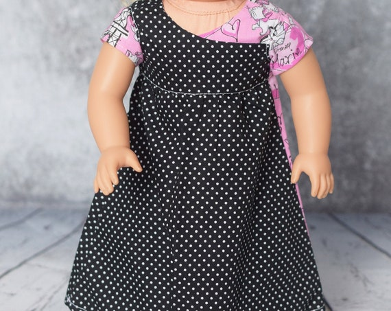 """Doll Play Dresses, Sized to Fit Popular 18"""" Dolls, Dress with Matching Headband, Girl Gift, Quality Hand-made Doll Dress A128"""