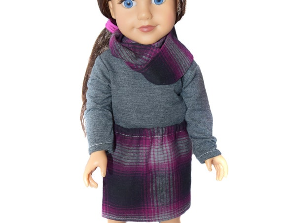 "3-piece Outfit (Long-Sleeved T-shirt, Skirt and Infinity Scarf) for 18"" Dolls."