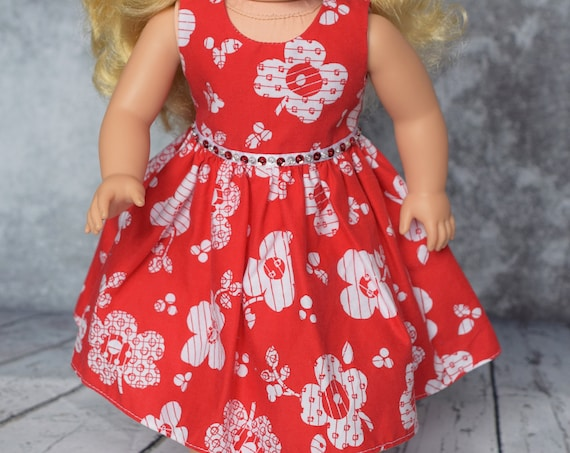 "Cotton Sleeveless Party Dress with Sequin Detail for 18"" Dolls, American Girl Doll Clothing, Quality Hand-made Doll Dress, Girl Gift"