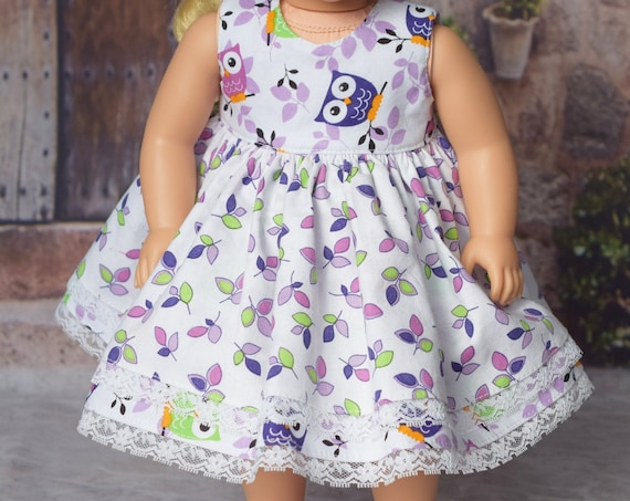 """Cotton Sleeveless """"Owl"""" Doll Dress with Lace-Trimmed Two-tier Skirt and Back Bow for 18"""" Dolls, Owls, American Girl Doll Clothing, Girl Gift"""