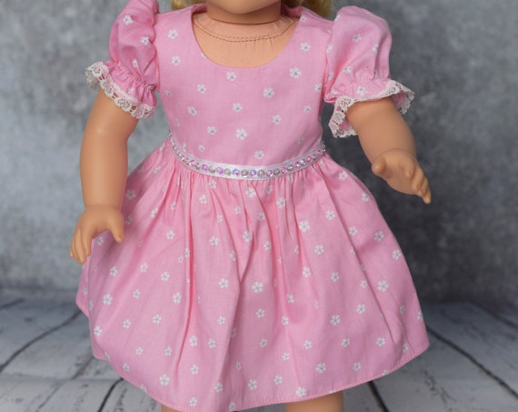 Cotton Party Doll Dress, Quality Hand-made Dress with Puff Sleeves, Lace Trim & Sequin Detail, American Girl Doll Clothing, Girl Gift,