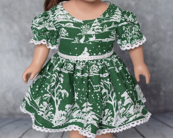 """Green Cotton Christmas Party Dresses for 18"""" Dolls featuring Bunnies, American Girl Doll Clothing, Quality Hand-made Dresses, Girl Gift"""