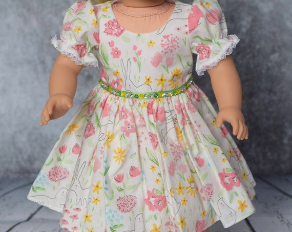 Cotton Party Doll Dresses, Quality Hand-made Dress, Bunny Doll Dress, Dress with Sequin Details, American Girl Doll Clothing, Girl Gift A112