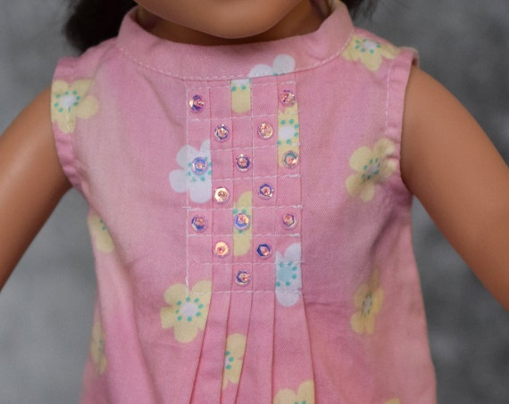 "Cotton 2-piece Outfit with ""Smocked"" Top and Fitted Skirt for Journey Girl, Quality Hand-made Doll Outfit, Doll Clothing, Girl Gift"