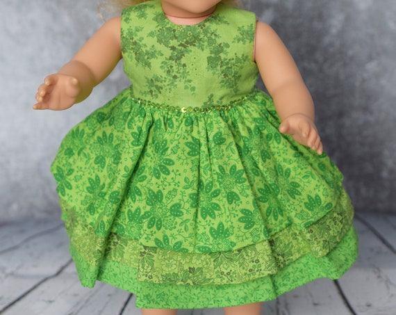 """Cotton Party Dress, Green Doll Dress with a 3-tiered Skirt, Sized to Fit Most Popular 18"""" Dolls, Quality Hand-made Doll Dress, Girl Gift"""
