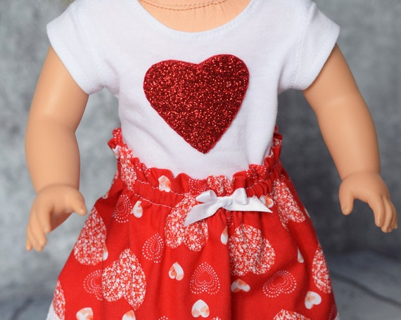 """Valentine Doll Outfits, 2-piece Cotton Outfits with Gathered Skirts and Heart-adorned T-shirts, Sized to Fit Most 18"""" Dolls, Girl Gift"""