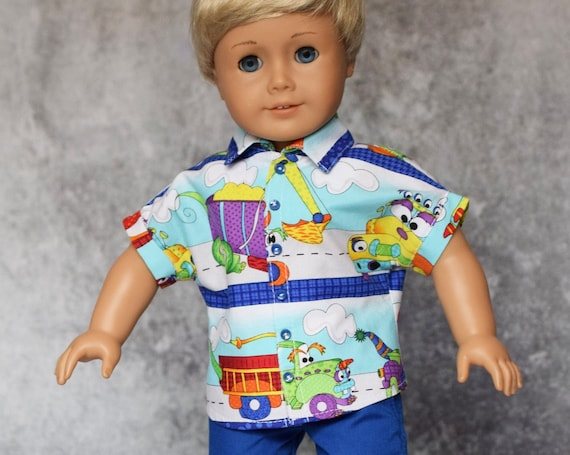 """Cotton Doll Outfit, Dolman-Sleeved Button-down Boy Shirt with Royal Blue Pants, Sized to Fit 18"""" Boy or Girl Dolls, Doll Clothing, Girl Gift"""