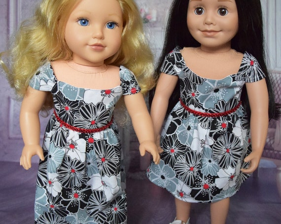"""Cotton Doll Dresses, Quality Hand-made Dress, Floral Dress, Day Dress, Evening Dress, Sized to Fit Most 18"""" Dolls, Doll Clothing, Girl Gift"""