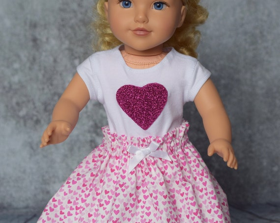 """Valentine Doll Outfits, 2-piece Cotton Outfits with """"Paper Bag"""" Skirts and T-shirts, Sized to Fit Most 18"""" Dolls, Doll Clothing, Girl Gift"""
