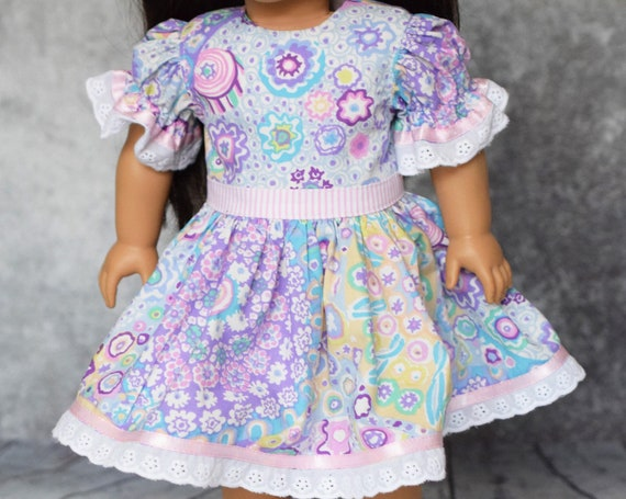"""Cotton Doll Dress, Party Dress with Puff Sleeves and Lace Detail, Sized to Fit Most Popular 18"""" Dolls, Quality Hand-made Dress, Girl Gift"""