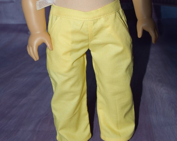 "Hand-made Cotton Trousers (Pants) for 18"" Boy or Girl Dolls such as American Girl."