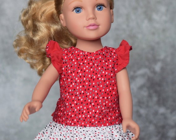 "American Girl Doll Clothes - Doll Clothing - Doll Outfit -  2-piece Blouse and Skirt Outfit for 18"" Dolls."