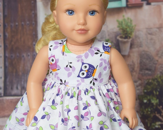 "American Girl Doll Clothing - Doll Dress for 18"" Dolls - Owls and Leaves"