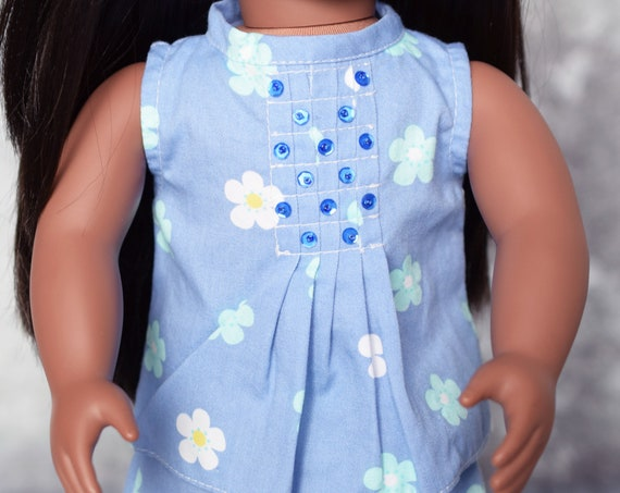 Cotton Coordinating Outfit with Sleeveless Blouse, Front-pleat Skirt, Pants and/or Jacket for Journey Girl, Doll Clothing, Girl Gift A109