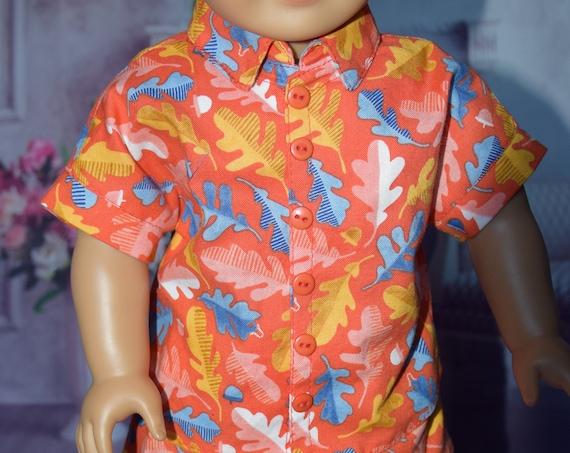 Cotton Short-Sleeve Boy Doll Shirts, Quality Hand-made Shirt, Button-down Shirt, Summer Casual Shirt, American Girl Doll Clothing, Girl Gift