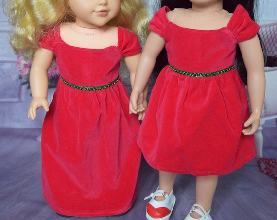 "Hand-made Red Cotton Velvet Party Dresses for 18"" Dolls such as American Girl; Floor- and Knee-Length Versions."
