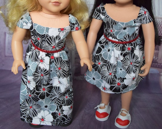 "Hand-made Cotton Party Dresses in Black, White and Red Floral Pattern for 18"" Dolls such as American Girl: Floor- and Knee-Length Versions"