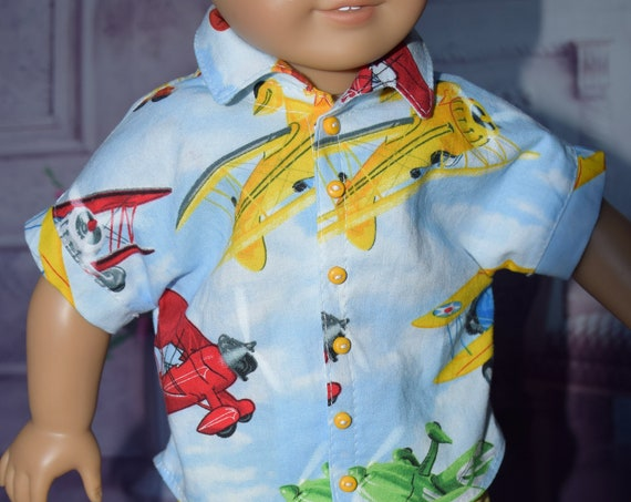 "American Girl Doll Clothing - Doll Shirts - Girl Gifts - Cotton Short-Sleeve Shirt for 18"" Boy Dolls."