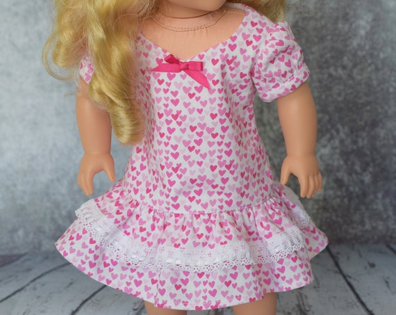 Valentine's Day A-line Party Doll Dress with Sweetheart Neckline, Puff Sleeves and Ruffled Hem, American Girl Doll Clothing, Girl Gift